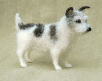 Needle felted Jack Russell Terrier, miniature dog, custom portrait memorial, 11-12 month turnaround time