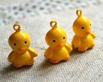 3pcs Jingle Bell Duck Charms Brass Enamel 21mm Christmas Decor