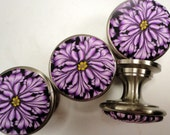 Handmade Polymer Clay/Metal   10 Unique Artisan Cabinet Knobs/Pulls Bathroom knobs dresser knobs  Lavender  Black and Purple