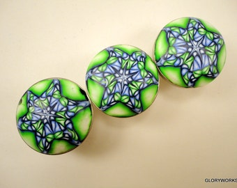 Star Cabinet Knobs Pulls 8 handmade decorative dresser knobs unique polymer clay bathroom knobs Lime Navy and Lt. Blue Star