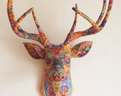 Pink Paisley Deer Head Wall Mount Covered Antlers Faux Taxidermy