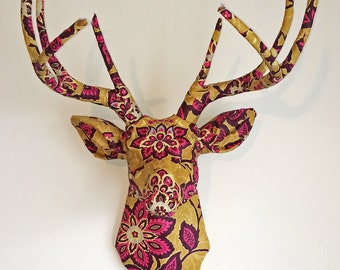 Ornate Floral Deer Head Wall Mount Mustard & Plum Faux Taxidermy