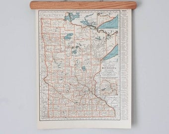 1930s Antique Maps of Minnesota and Mississippi