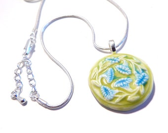 Blue and Green Morning Glories Polymer Clay Pendant with Silver Snake Chain Necklace