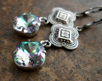 Swarovski Cushion Cut Crystal, Celtic Earrings Exclusive Design by Enchanted Lockets
