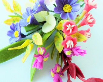 Miniature Polymer Clay Flowers Bouquet, Iris and Cosmos, Supplies for Dollhouse and Handmade Gifts 1 Bunch