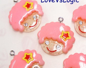 4 Baby Girl Glitter Lucite Charms. Pink Curly Hair. Cute