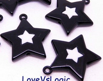 6 Huge Acrylic Star Charms. Jet With White Star.