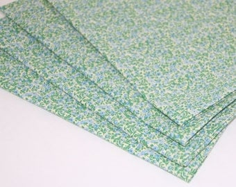 Green and Blue Flowers Cloth Napkins Set of 4