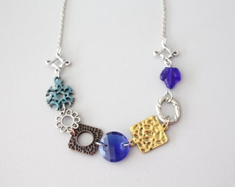 Chunky blue, gold and silver  necklace