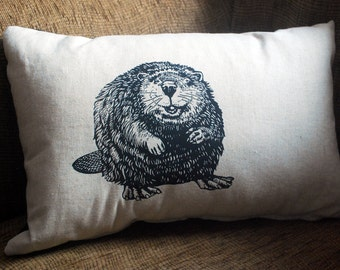 Decorative, Rustic, Woodland Throw Pillow,  Original Beaver  Screenprint