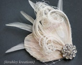 TARA -- Champagne Ivory Peacock Feather Bride Bridal Bridesmaid Wedding Fascinator Headpiece Hair Clip Ivory Veil Vintage Style Rhinestone
