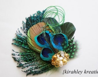 Peacock Feather Headpiece Hair Clip Fascinator SHANOAH Gold Silver Beaded Cluster Bride Bridal Bridesmaids Wedding Prom Holiday Party