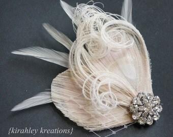 Ivory Peacock Feather Champagne Bride Bridal Bridesmaid Wedding TARA Fascinator Headpiece Hair Clip Ivory Veil Vintage Rhinestone Prom Clips