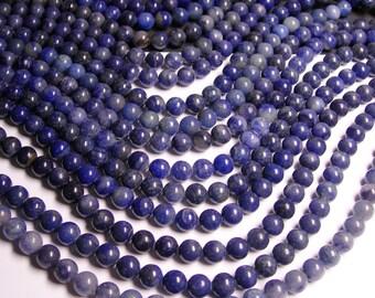 Blue quartz  10mm round - 1 full strand  - 40 beads  - Genuine Blue quartz