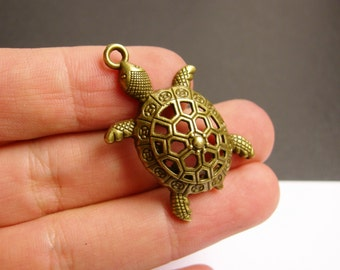 Turtle charms - 6 pcs - antique bronze brass turtle charms -  BAZ66