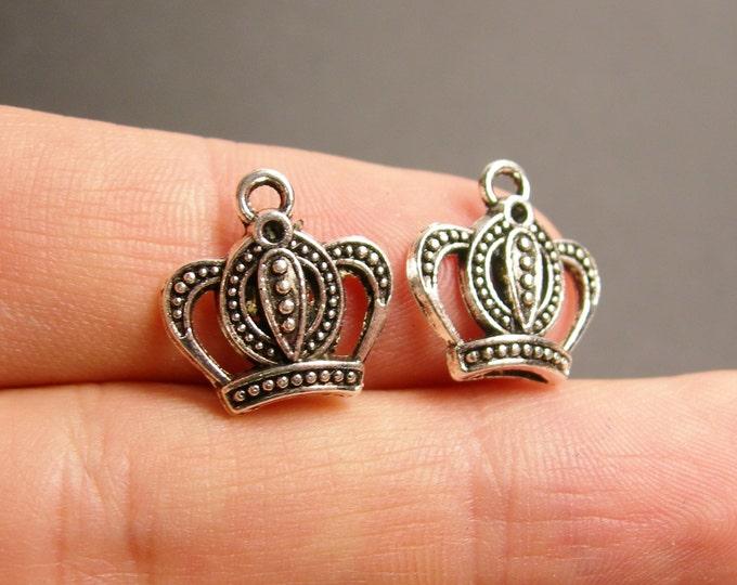 24 crown silver tone charms - 24  pcs -  ASA82