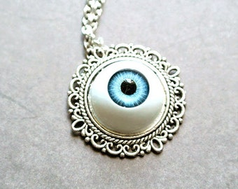 Halloween Eyeball Necklace, Blue Eyeball Necklace, Chunky jewelry,Scary jewelry, Halloween Gift
