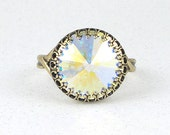 Sparkly Crystal Ring in Antique Brass with Swarovski Crystal AB Rivoli Stone - Vintage Style Adjustable or Women's Size 8 Cocktail Ring