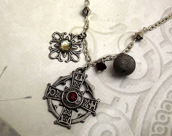 Celtic Cross Gunmetal Necklace, Red Crystals, Gray, Charm Necklace