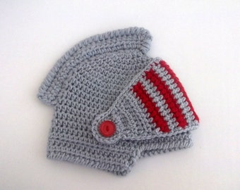 Gray/Red Knight Hat -Gladiator-Medieval knight helmet hat-Knight Hat with Movable and Detachable Face Mask-for fantasy and adventure play