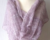 Linen Shawl Knitted Natural Summer Wrap in Light Violet
