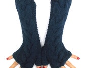 Fingerless Gloves Wrist Warmers Dark Blue/ Navy Cabled Hand Knitted Soft and Long
