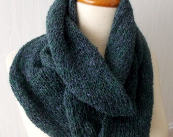 Infinity Scarf Knitted Circular Tube Scarf  In Green Blue Fall Winter Fashion