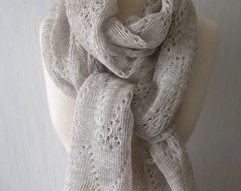 Linen Scarf Grey Knitted Natural Spring Summer Shawl Lace Wrap Natural