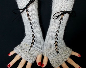 Light Grey Fingerless Gloves Corset Wrist Warmers with Black Suede Ribbons Victorian Style