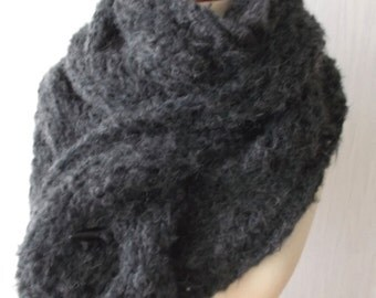Dark Grey Chunky Scarf Charcoal Cowl Handknit Cabled Autumn Winter Fashion
