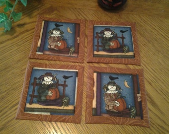 Quilted Halloween Scarecrow Fabric Coasters - Set of 4