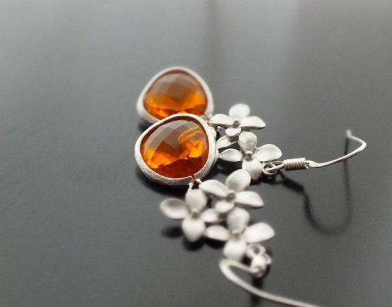 Carnelian Dangle Earrings with Silver Cherry Blossom - Also Available in Gold, Carnelian Drop Earrings, Bridesmaid Earrings, Wedding Jewelry