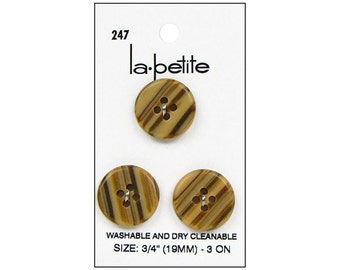 "La Petite Buttons 3/4"" Tan Brown 2 Hole Sewing Clothing Buttons La-Petite LaPetite 247"