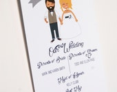 Wedding Program Cartoon Couple Modern Wedding Menu Hipster Wedding Program