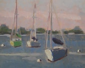 Original Plein Air Painting Three Sailboats