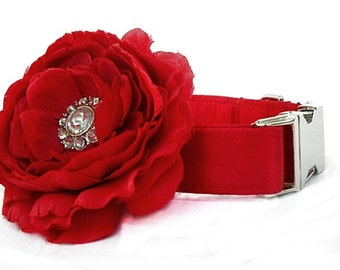 Satin Wedding Dog Collar with Flower Accessory - Red Satin