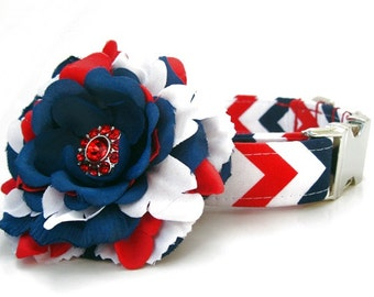 Red White and Blue Chevron Dog Collar with Nickel Plate Hardware and Flower Accessory