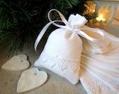 White linen gift bag, favor bag, for Christmas, for Wedding, for small gift, 2.75 x 4.33inch (7x11cm)