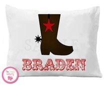 Western Cowboy Boot Personalized Pillow Case ,  Kids Personalized Pillow Case