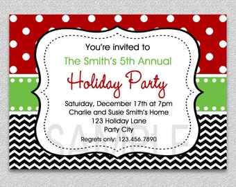 Holiday Party Invitation, Christmas Party Invitation , Office Holiday Invitation , Christmas Party,  Green and Red Holiday Party Invitation