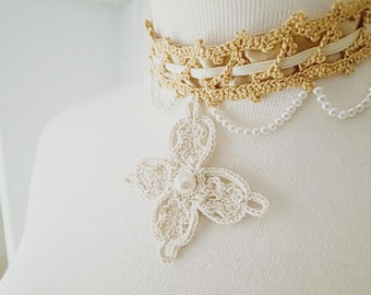 Irish Crochet Lace Jewelry (Victoria Cross) Fiber Jewelry, Choker,Crochet Necklace