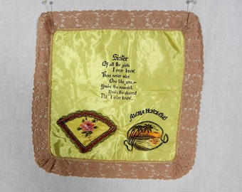 Satin Handkerchief, Aloha Honolulu, Sister Hanky, Yellow with Beige Lace Edges