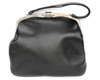Grace, French Vintage, 1950s Black Leather Formal Handbag, from Paris