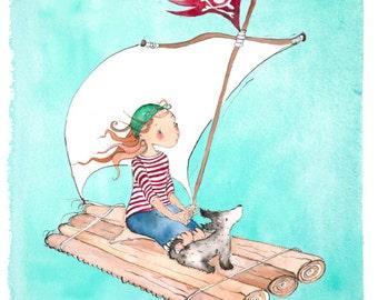 Fine art print of Captain Katie on her raft illustration
