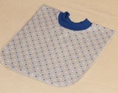Large Pull Over Bib - Blue Yellow Green White Polka Dots