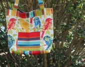 X-Large Colorful Bird And Striped Tote Quilted