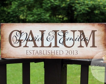 Family Name Sign, Etablished Sign, Personalized Name Plaque