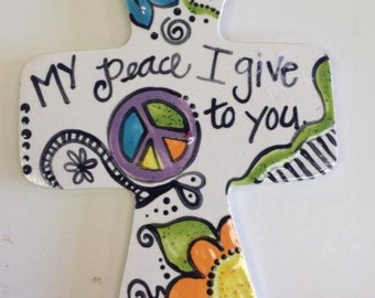 Whimsical Hand-Painted Ceramic Cross