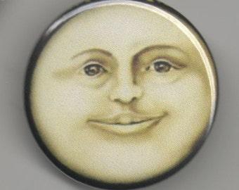 Serene Moon Face 1.25 inch Button